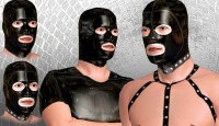 Rubber gay mask sex fetish and BDSM head uniform